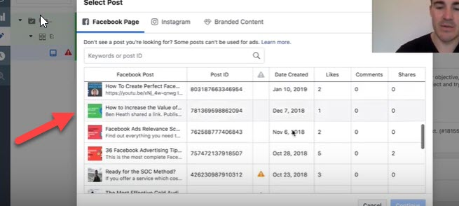 Select existing post for brand awareness campaign