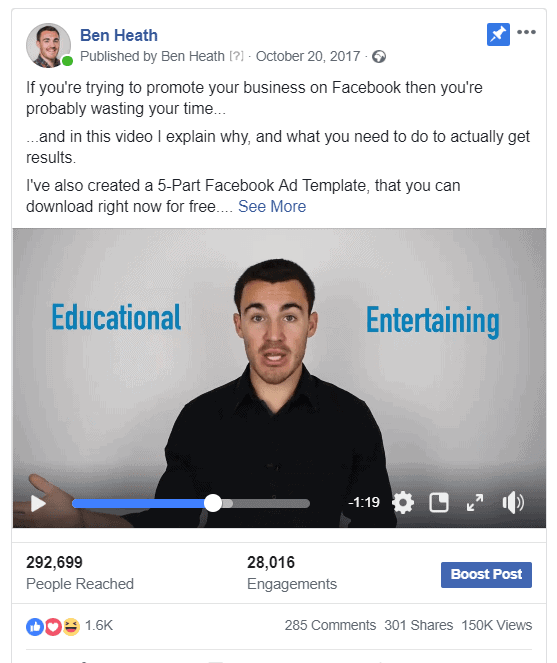 Social proof facebook ad example