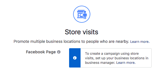 Store Visits Facebook ad objective
