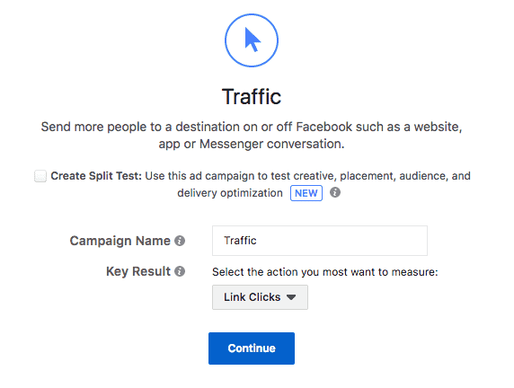 Traffic Facebook ad objective