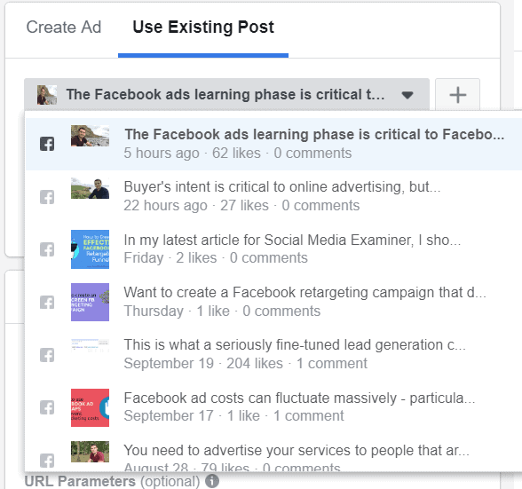 use existing post examples facebook ads