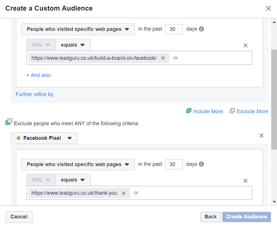 Visited a page but not another facebook custom audience
