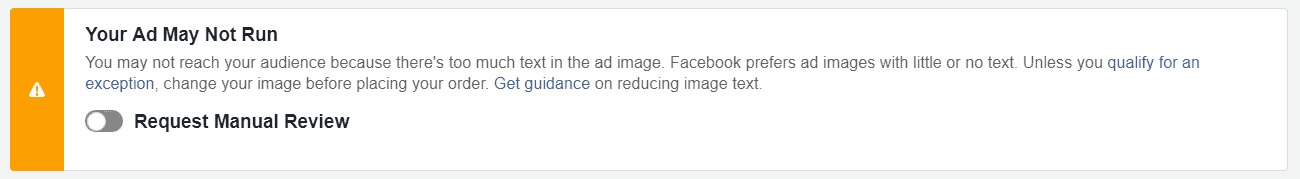 Facebook ad image text warning