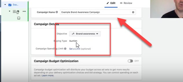 Campaign level for Facebook brand awareness campaign