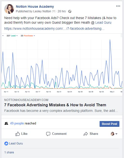 Facebook post Lead guru