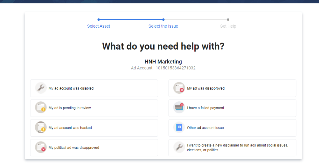 Tell Facebook what you need help with