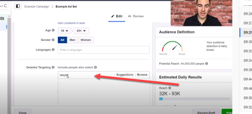 interest targeting for b2b ads in Facebook