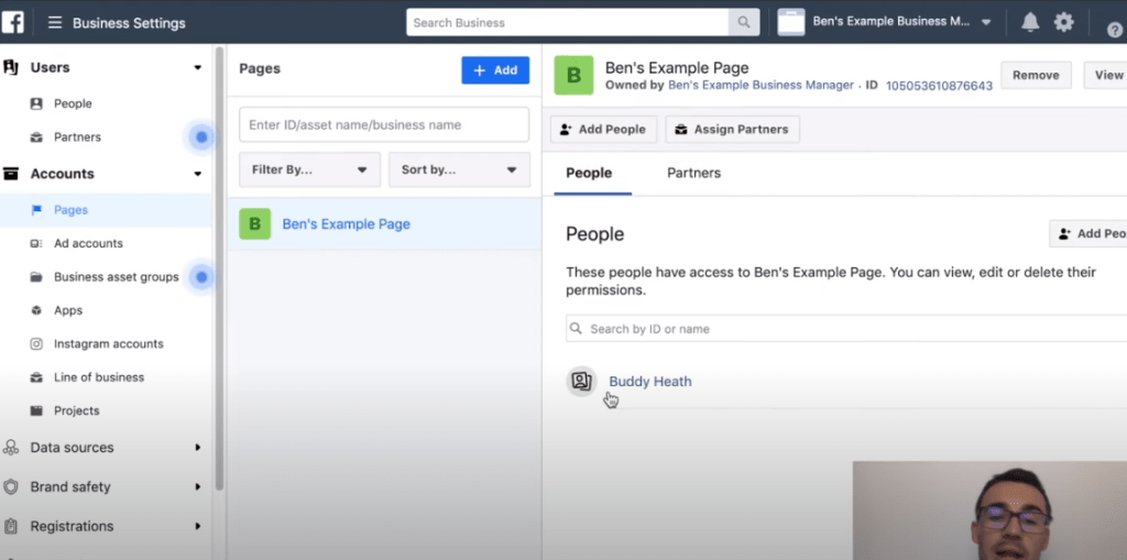 changing people's roles in Facebook ads manager