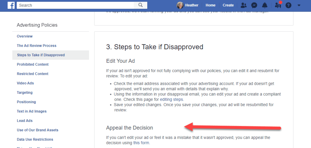 appeal facebook ad disapproval