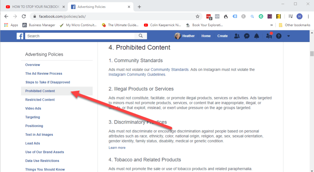 Facebook advertising policies - prohibited content.