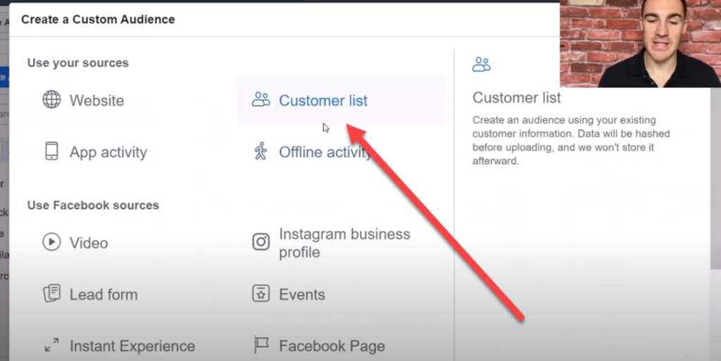 Upload your buyer list to Facebook audience manager