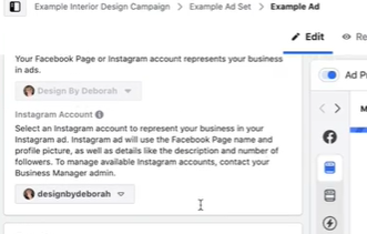 Selecting the right accounts for your Facebook ad.