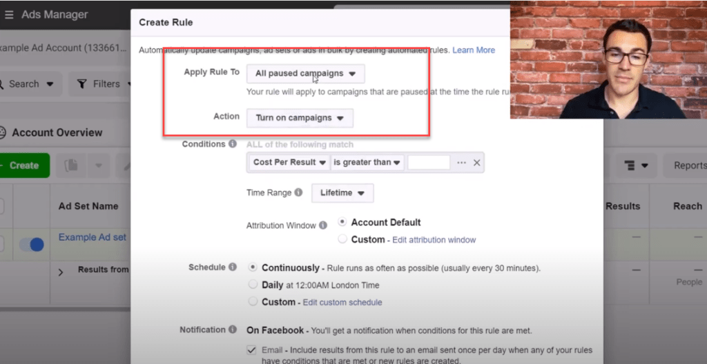 turn on campaigns using Facebook ad rules