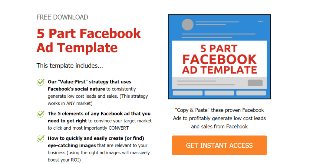 5 Part Facebook Ad Template Giveaway