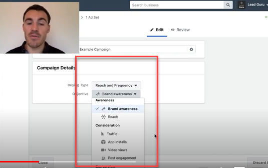 Objectives you can choose in a Facebook reach and frequency campaign