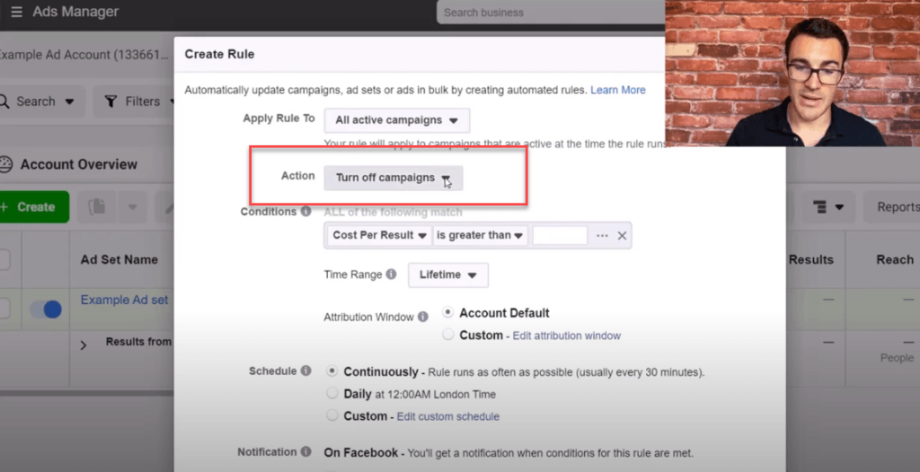turning off campaigns using Facebook ad rules