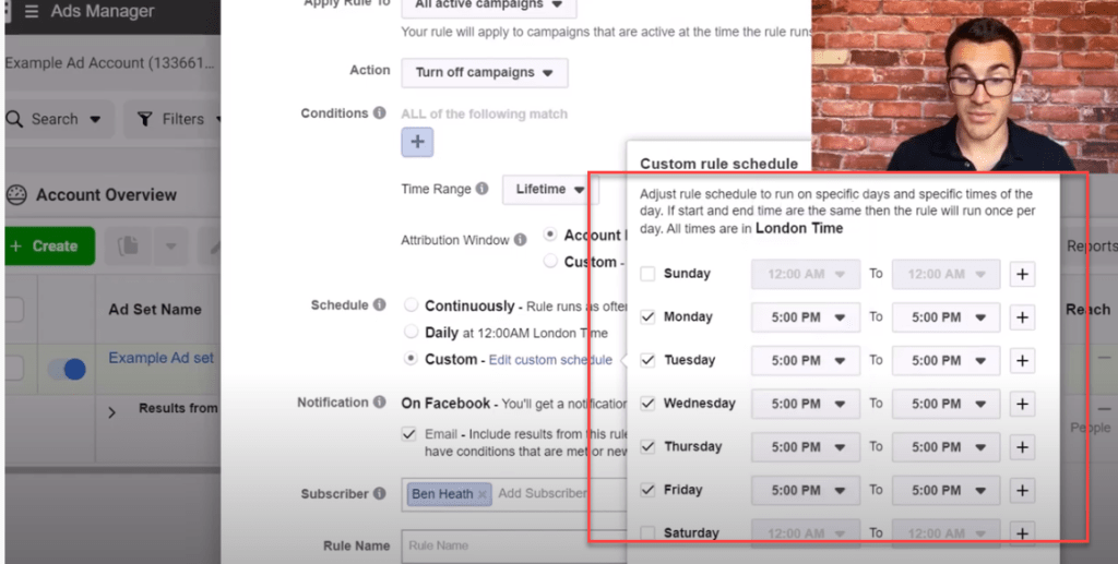 Setting turn off times using Facebook ad rules