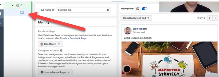 navigating to ad level for Facebook brand awareness campaign