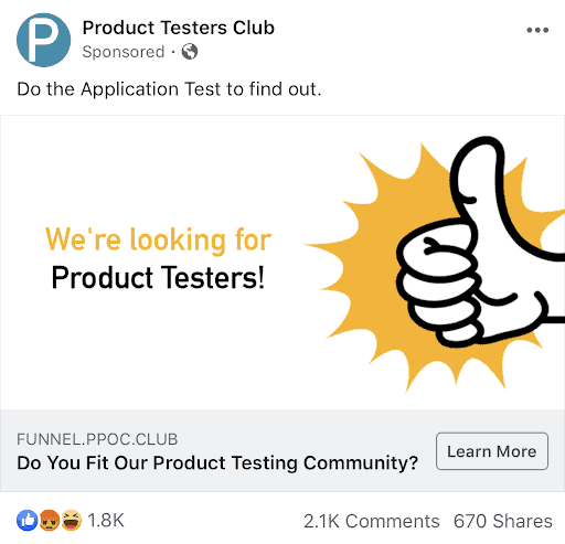product testers club facebook ad examples