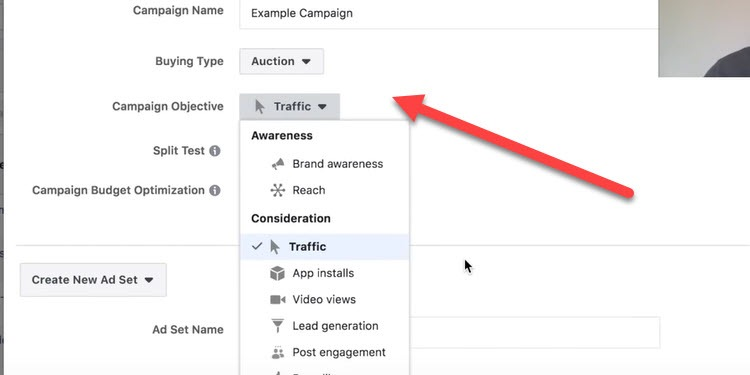 selecting campaign objective in Facebook ads