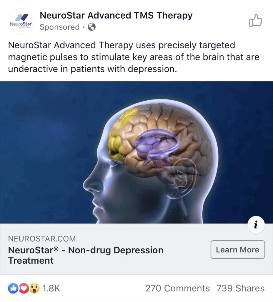 successful-facebook-ads-2019-neurostar-depression-therapy