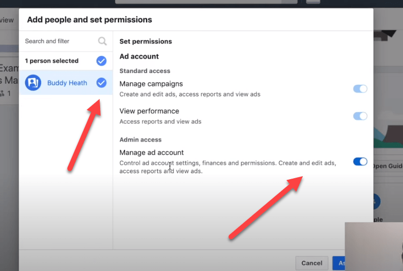 Setting permissions for ad accounts