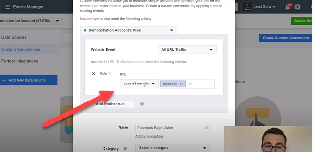 Facebook custom conversion - doesn't contain