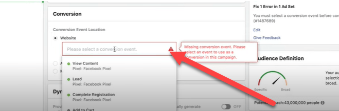 Selecting the right conversion event location for your Facebook ads campaign.