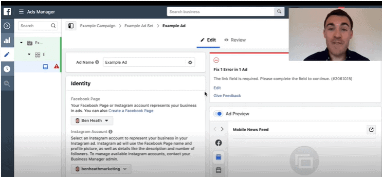 Setting up the ad level of your Facebook campaign