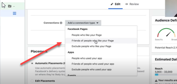 Select friends of people who like your pages at the ad set level