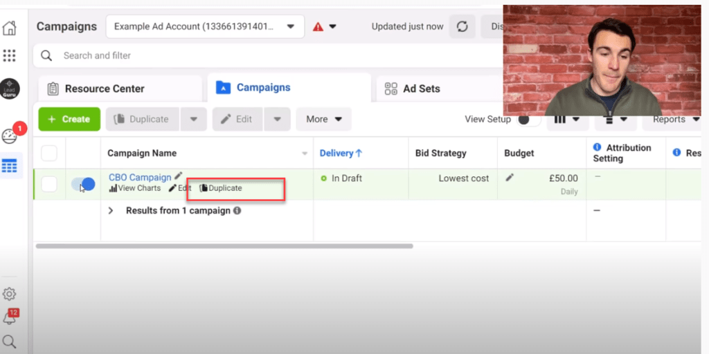Pause and duplicate your Facebook campaign