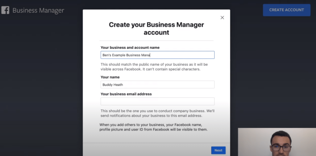 Entering your business name for Facebook business account