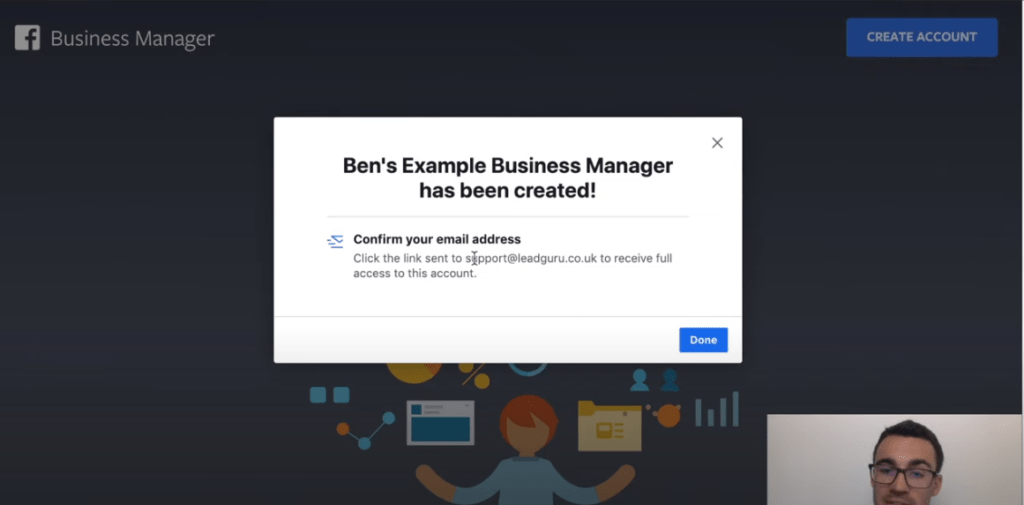 Confirming your email for Facebook business account