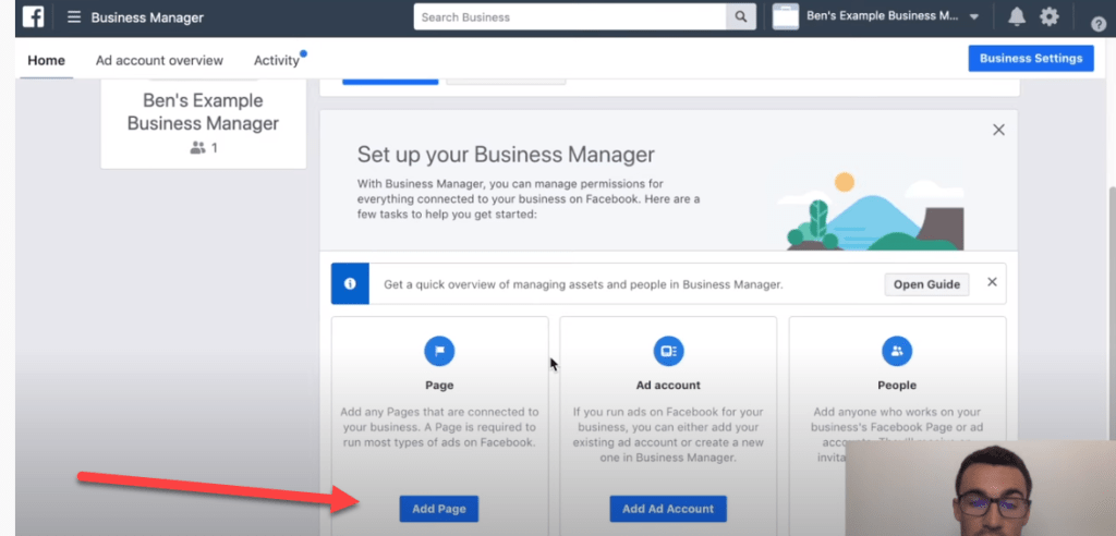 Adding a page in Facebook ads manager