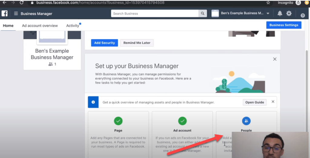 Adding people to Facebook ads manager