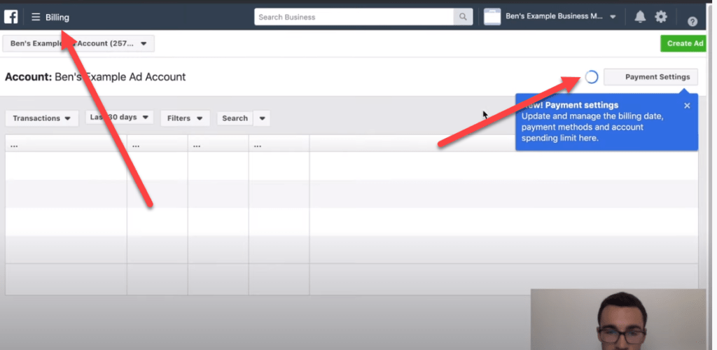 Finding the billing section of Facebook ads manager