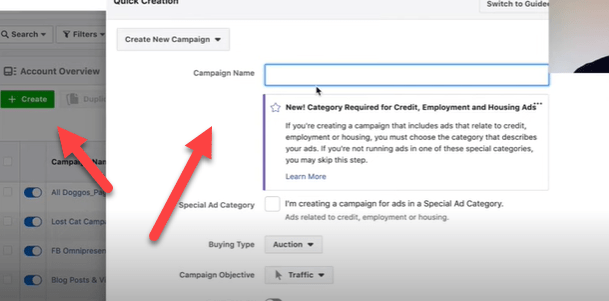 Create button to start a new Facebook campaign