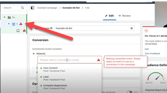 How to find the ad set level in a Facebook campaign