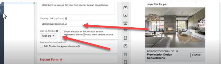 call to action button for Facebook ad.