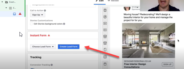 Lead forms for Facebook ad.