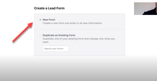 creating the lead form for the Facebook ad.