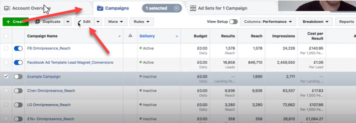 Setting up campaign budget optimization in Facebook