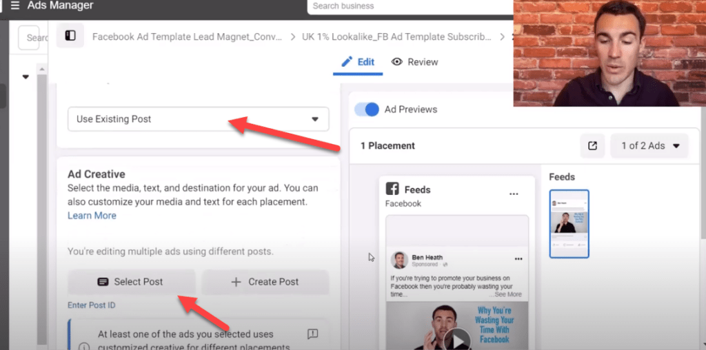 Use an existing post in your Facebook ad