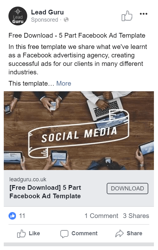 Example Facebook Image ad