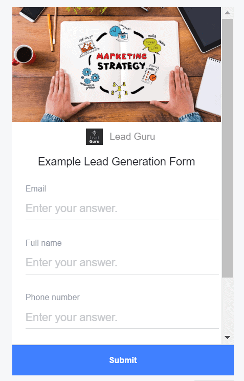 Example Lead Generation Ad Form