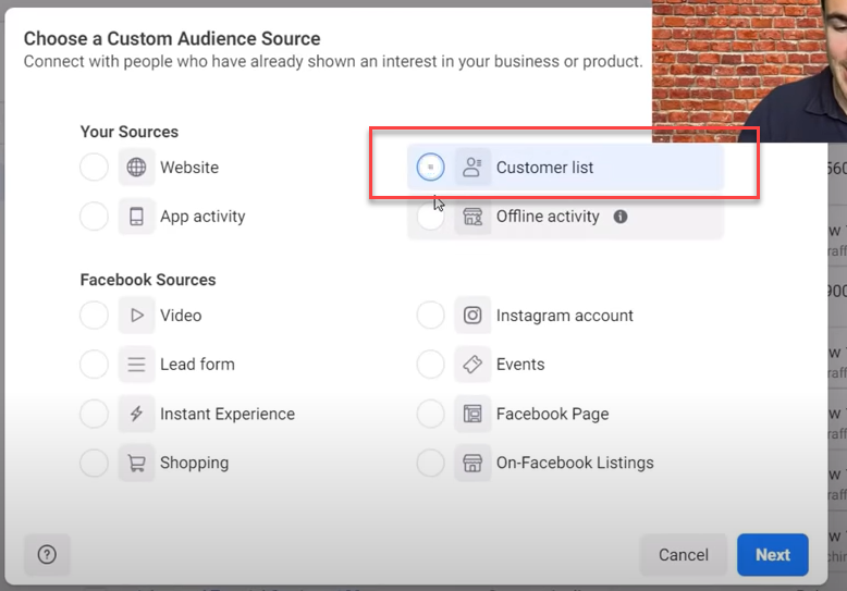 Upload an email list