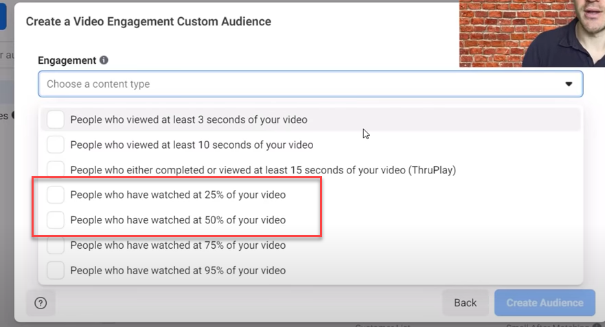 25% or 50% video view