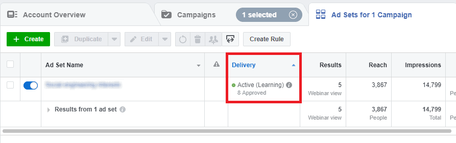Facebook ads learning phase reporting